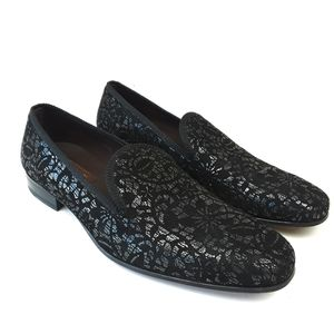 Mezlan Suede Silver Printed Loafers